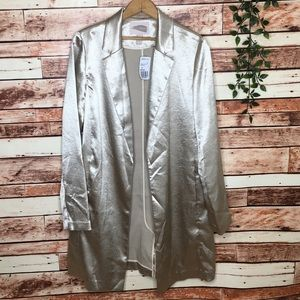 NEW Silky Light Gold Trendy Casual Long Jacket Med